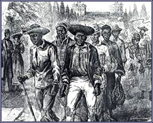 A slave coffle passing the Capitol grounds, 1815 published in A Popular History of the United States, 1876.  Library of Congress